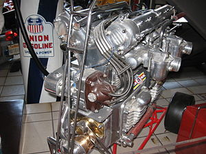 Offenhauser - Two views of an Offenhauser midget car racing engine - polished for display