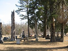 Cemetery of Greensboro Baptist Church in Webster County. The large white marble tombstone marks the grave of William F. Brantley, General, C.S.A.
