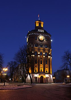 The former water tower in the center of Vinnytsia, Ukraine (now the War Veterans' Museum). View in the winter evening.