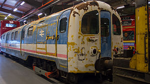 Old Waterloo & City line car at London Transport Museum Acton Depot (8649197945).jpg