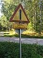 Old other danger sign in Salmi outdoor area in Vihti, Finland.jpg