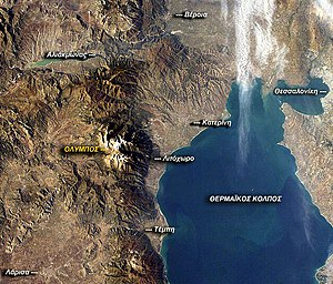 Mount Olympus - Satellite photo of Olympus' region