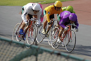 Keirin - Racers sprinting to the finish line in the last lap of a race at the Ōmiya Velodrome.