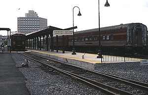 OnTrack train at Armory Square - Downtown Syracuse station, July 1995.jpg