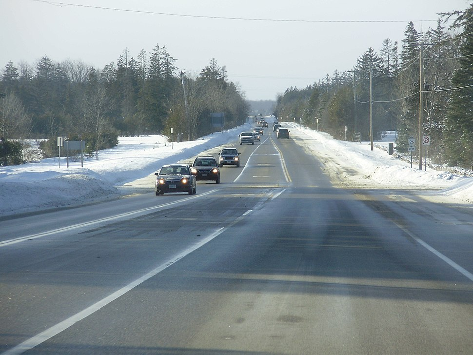 Ontario Highway 26 Westbound with Snow