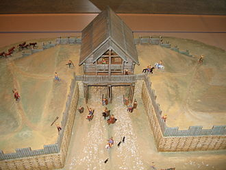 Oppidum - A museum model of a typical Zangentor at the Oppidum of Manching in Germany
