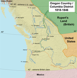 "Map of the Oregon Country ""jointly occupied"" by the US and Great Britain; the Columbia Department at its greatest extent included areas far to the north and south."