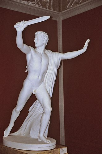 Relative direction - This statue holds a sword in its proper right hand