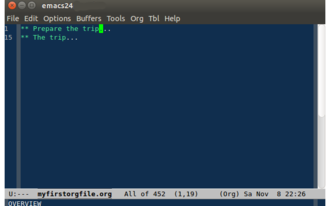 Org-mode - The same org file shown in overview in emacs org-mode