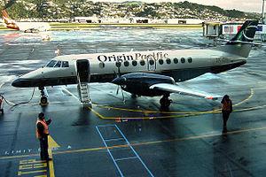 British Aerospace Jetstream 41 - Jetstream 41 of now-defunct Origin Pacific Airways at Wellington International Airport in June 2004.