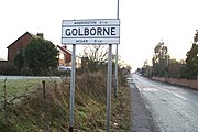 Original cast sign for Golborne on Wigan Road (A573) - geograph.org.uk - 1072207.jpg