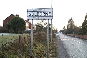 Golborne - Boundary sign on Wigan Road (A573)