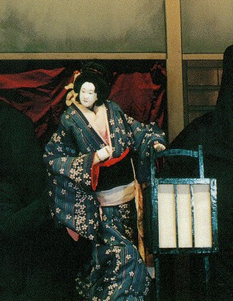 Bunraku - The character Osono, from the play Hade Sugata Onna Maiginu (艶容女舞衣), in a performance by the Tonda Puppet Troupe of Nagahama, Shiga Prefecture.