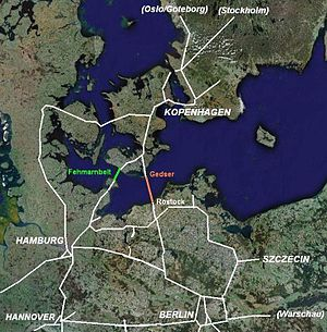 Intercontinental and transoceanic fixed links - The Fehmarn Belt Fixed Link (green) and the Gedser-Rostock bridge (orange) in the Danish-German motorway system