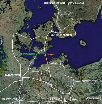 Fehmarn Belt Fixed Link - The Fehmarn Belt Fixed Link (green) and the Gedser–Rostock Bridge (orange) in the Danish–German motorway system