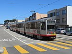 Outbound train at Taraval and 40th Avenue, June 2018.JPG