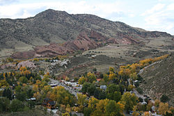 Town of Morrison with Red Rocks Amphitheatre in background