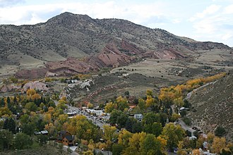 Morrison, Colorado - Town of Morrison with Red Rocks amphitheater in background
