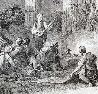 Turkish literature - An aşık performing in Anatolia, from an 18th-century Western engraving