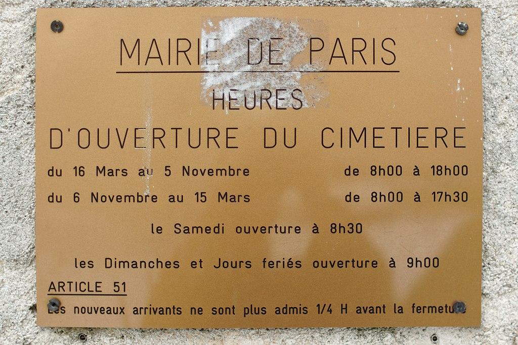 File P 232 Re Lachaise Porte Du Repos Heures D Ouverture