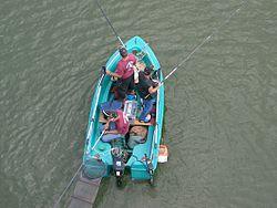 Pêcheurs en barque sur la Saône