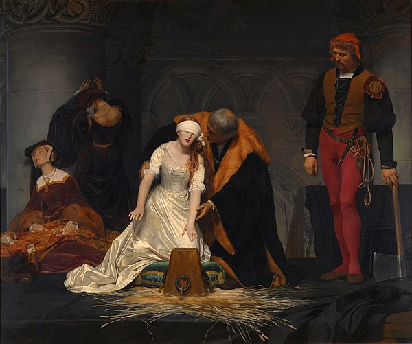 The Execution of Lady Jane Grey, by the French painter Paul Delaroche, 1833. National Gallery, London. PAUL DELAROCHE - Ejecucion de Lady Jane Grey (National Gallery de Londres, 1834).jpg