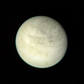 Europa as seen from Voyager 1 at a distance of 2.8 million km.
