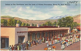 Pueblo Revolt - The Palace of the Governors in Santa Fe, seen here in a 1930s postcard, was besieged by the Pueblo in August 1680.