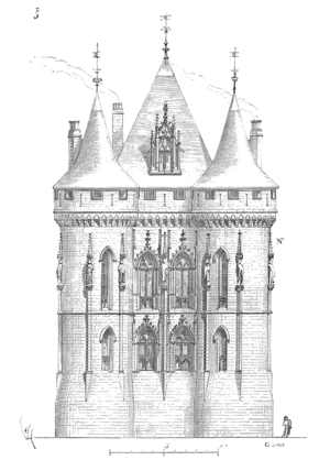 Palace of Poitiers - Reconstruction of the donjon as given by Eugène Viollet-le-Duc, 1856
