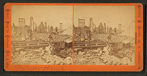 The Palmer House Hilton - Stereoscopic view of the ruins of the first Palmer House after the Great Chicago Fire