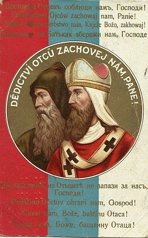 "Pan-Slavism - Pan-Slavic postcard depicting Cyril and Methodius, with the text ""God/Our Lord, watch over our heritage/grandfatherland"" in 9 Slavic languages."