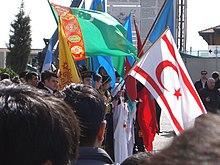 Manifestación con banderas