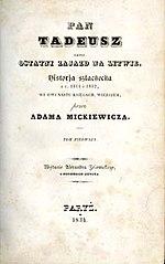 Ok�adka pierwszego wydania Pana Tadeusza