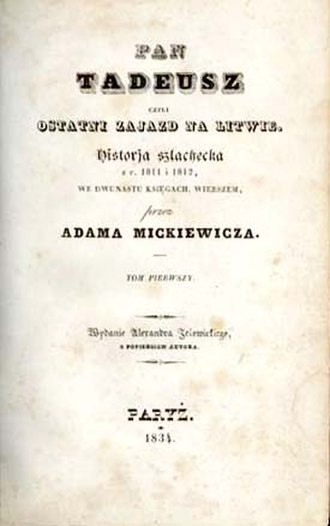 Pan Tadeusz - Title page of the first edition