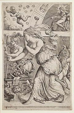 pandora s box  an allegory of les sciences qui eclairent l esprit de l homme the sciences that illuminate the human spirit 1557 an etching ascribed to marco angelo del