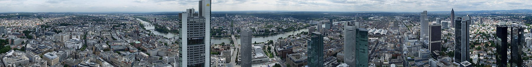 Panorama of Frankfurt seen from the Maintower observation deck