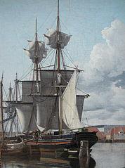 Parti fra Wilders Plads. Et skib, som losser og tørrer sejl
