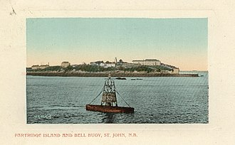 Partridge Island (Saint John County) - A c. 1905 postcard showing Partridge Island and a buoy
