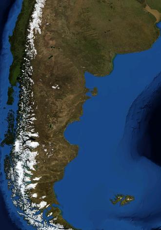 Patagonian Desert - A satellite image of the Patagonian Desert by NASA World Wind