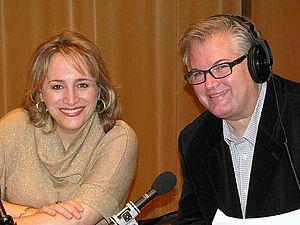 Brad Cresswell - Soprano Patricia Racette with host Brad Cresswell during the Metropolitan Opera Quiz, 2012
