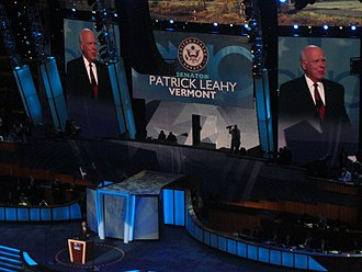 Leahy speaking during the second day of the 2008 Democratic National Convention in Denver, Colorado. Patrick Leahy DNC 2008.jpg