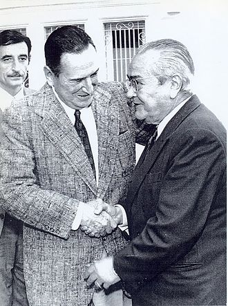 March 1973 Argentine general election - UCR leader Ricardo Balbín and Juan Perón, who again, in exile, became the central issue of the 1973 campaign.