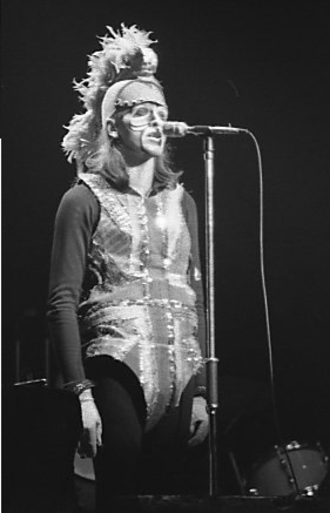 Selling England by the Pound - Peter Gabriel during the Selling England by the Pound tour in 1974, dressed in costume.