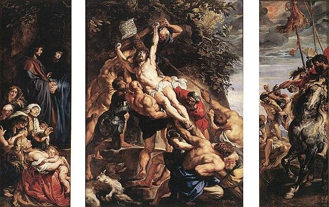 Воздвижение креста. 1610—1611, масло по дереву, 460 × 340 см. Собор Антверпенской Богоматери