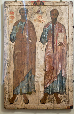 Apostles' Fast - 13th century icon of Ss. Peter and Paul (Belozersk).
