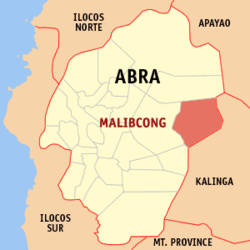 Map of Abra showing the location of Malibcong