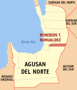 Map of Agusan del Norte with Remedios T. Romualdez highlighted