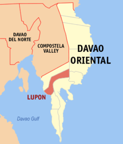 Map of Davao Oriental with Lupon highlighted