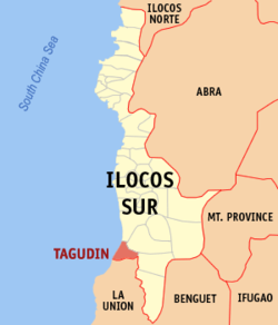 Map of Ilocos Sur with Tagudin highlighted