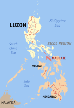Map of the Philippines with Masbate highlighted